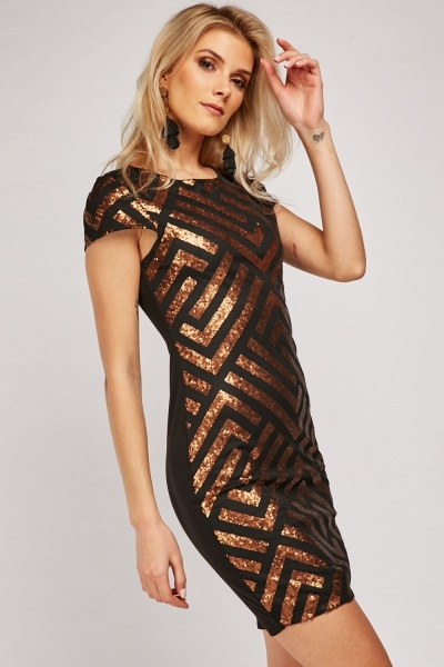 Sequin Patterned Overlay Bodycon Dress