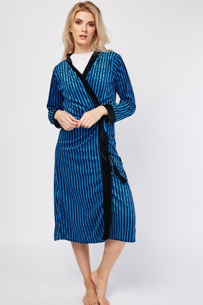 Velveteen Striped Dressing Gown