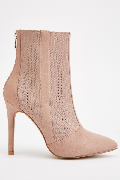 Perforated Pointy Heel Boots