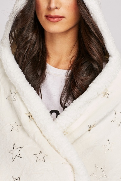 Metallic Star Printed Hooded Lounge Wear