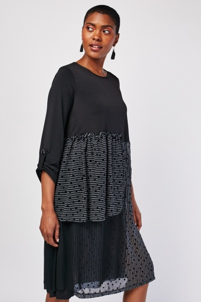 Polka Dot Chiffon Panel Dress