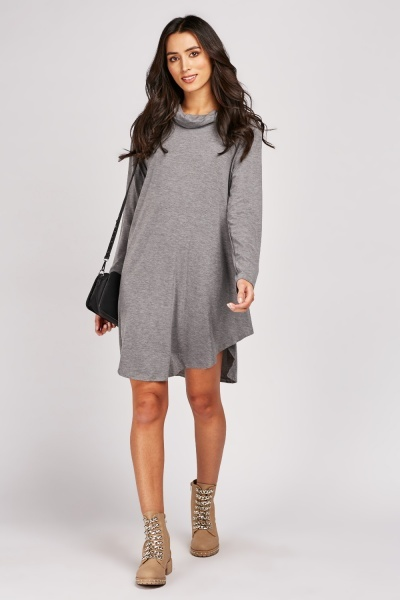 Speckled Roll Neck Knit Dress