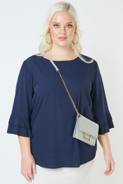 Tiered Bell Sleeve Chiffon Blouse