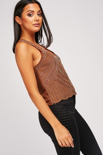 Encrusted Patterned Crop Top