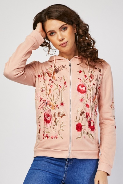 Embroidered Flower Zip Up Hoodie