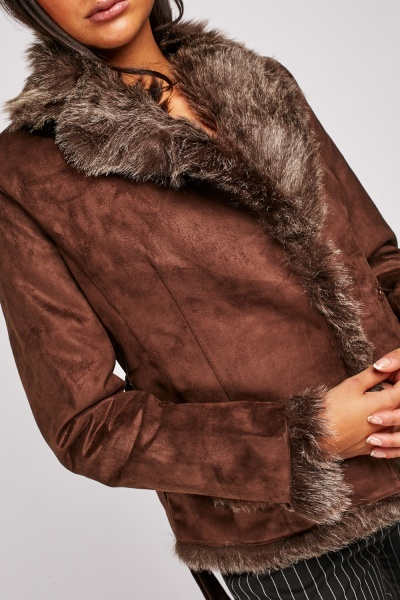 Fur Trim Suedette Jacket