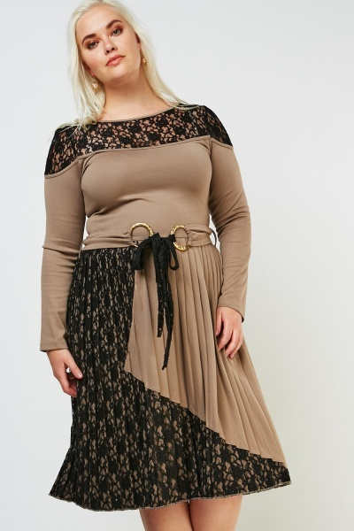 Pleated Lace Midi Dress
