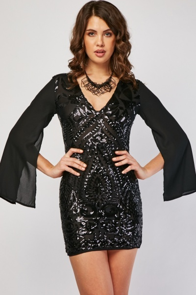 Sequin Mesh Overlay Mini Dress