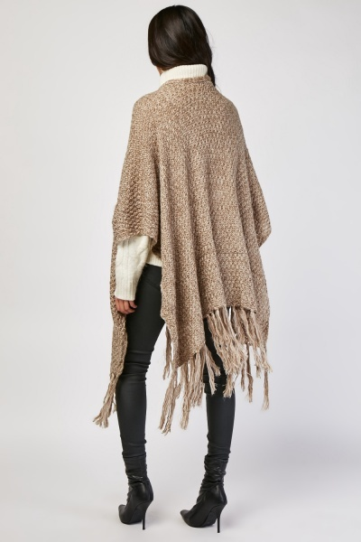 Chunky Speckled Knit Poncho