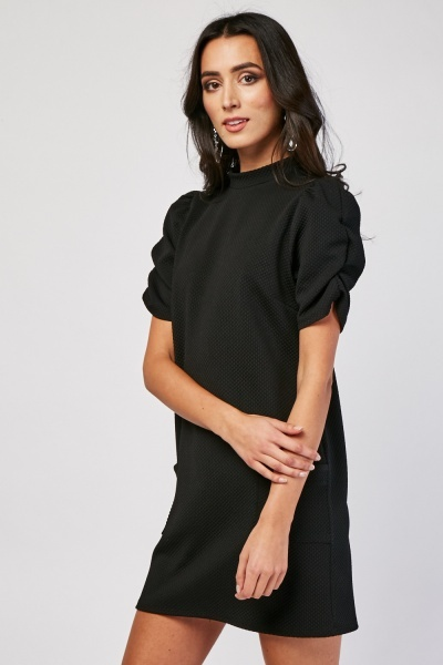 Gathered Sleeve Textured Dress