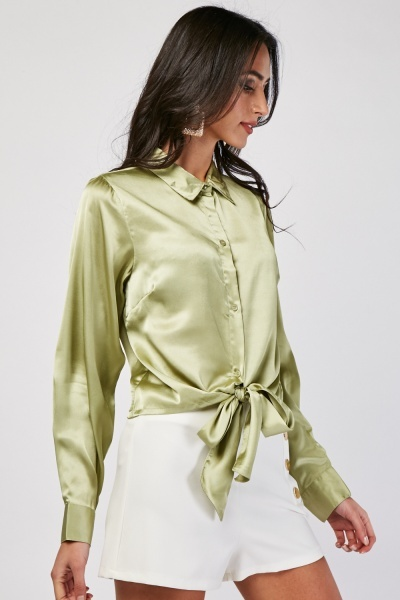 Tie Up Waist Sateen Shirt