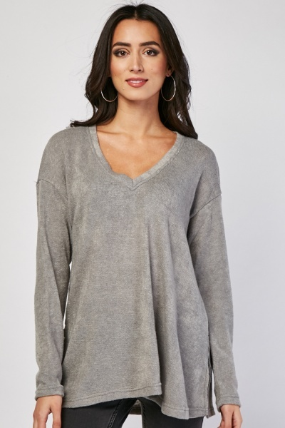V-Neck Speckled Jersey Knit Pullover