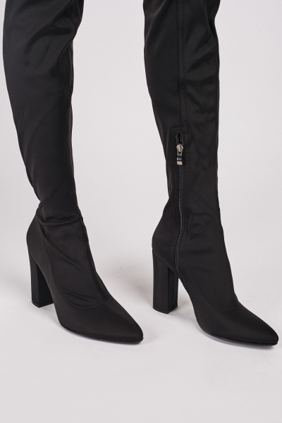 Black Scuba Thigh High Boots