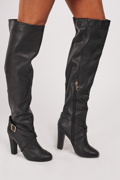 Cross Strap Buckled Knee High Boots