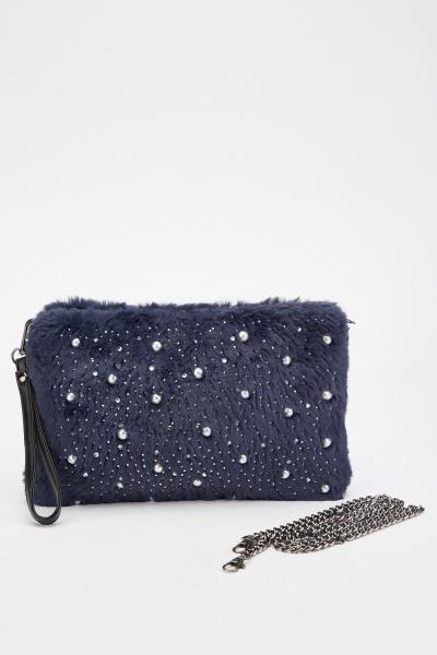 Fluffy Faux Pearl Encrusted Clutch Bag