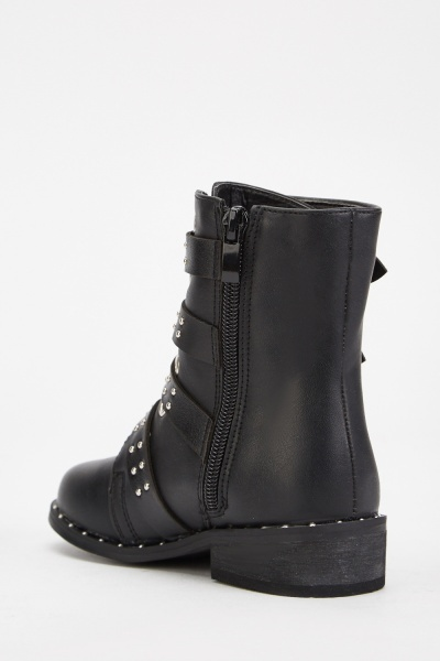Studded Buckle Side Girls Boots