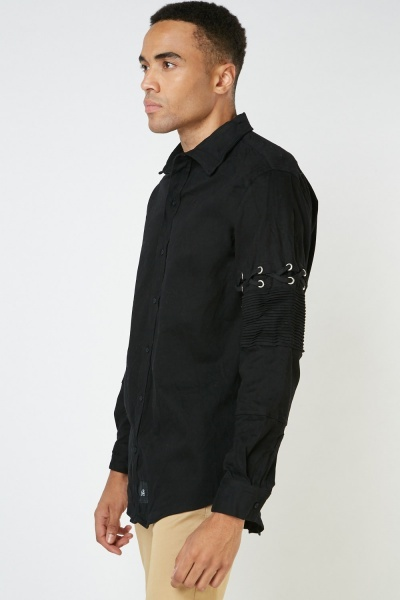 Criss-Cross Pleated Sleeve Shirt