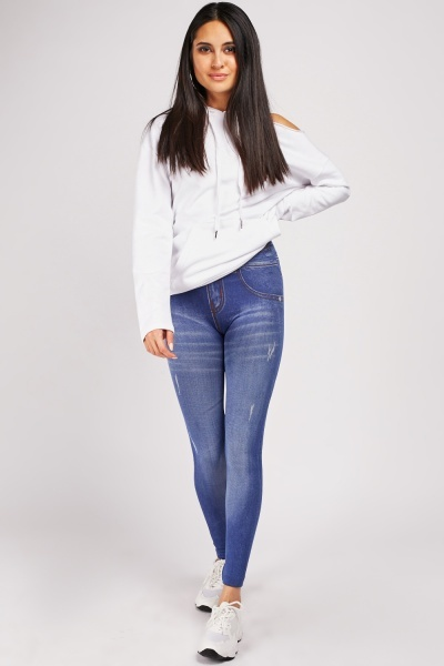 Denim Effect Super Stretchy Jeggings