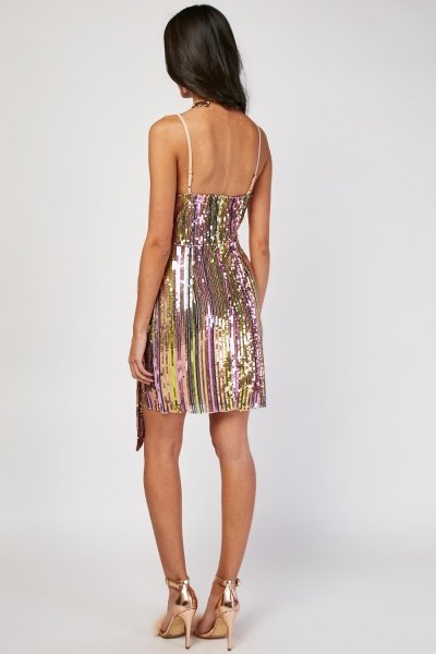 Disco Sequin Wrap Slip Dress