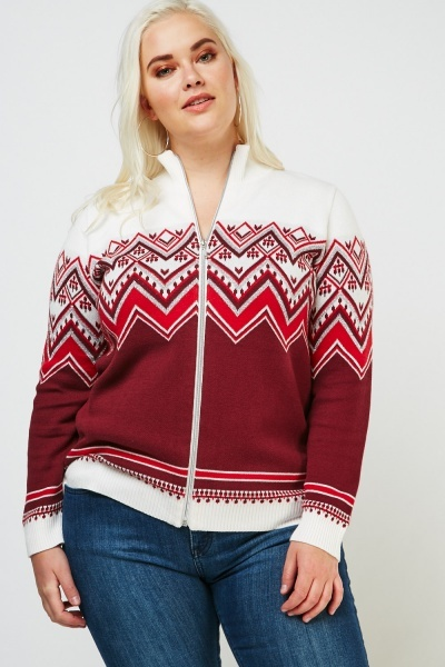 Metallic Fair-Isle Zip Up Jumper