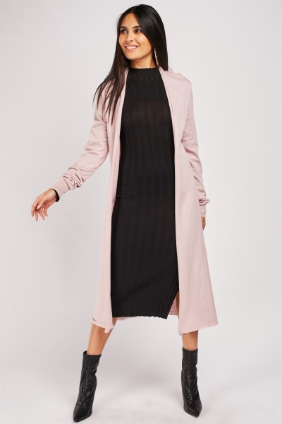 Plain Long-Line Knit Cardigan