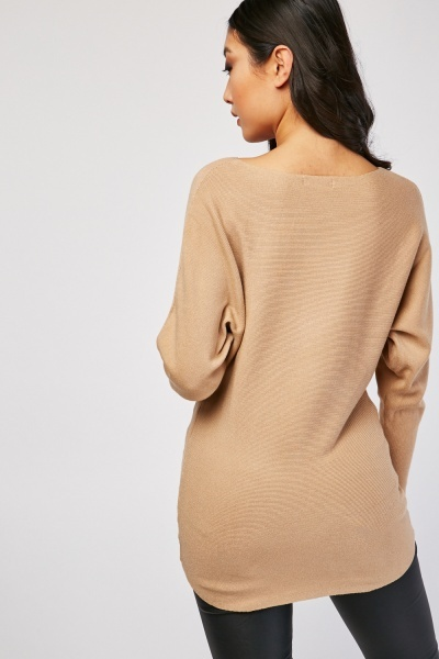 Ribbed Batwing Sleeve Jumper