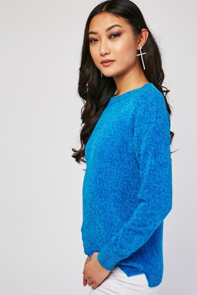 Round Neck Chenille Knit Jumper