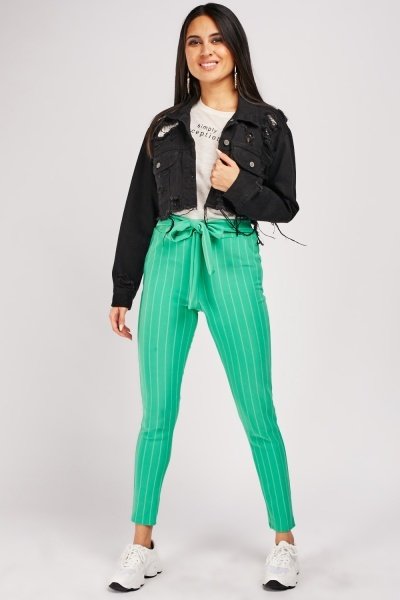 Vertical Pin-Stripe Tapered Trousers