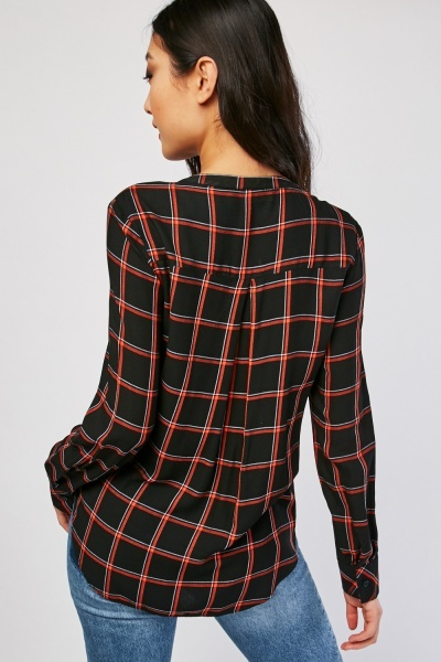 Window Pane Button Front Blouse