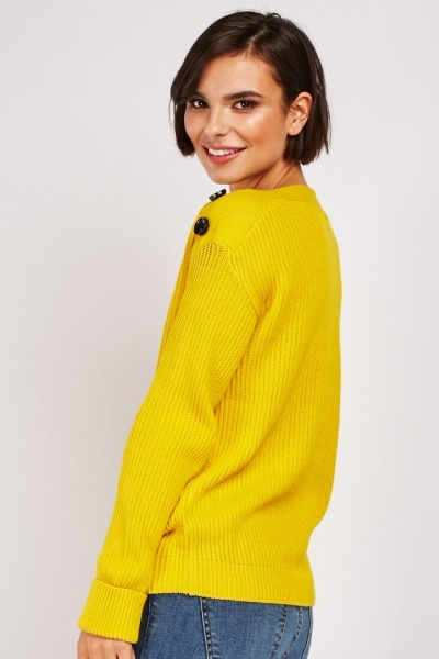 Decorative Button Herringbone Jumper