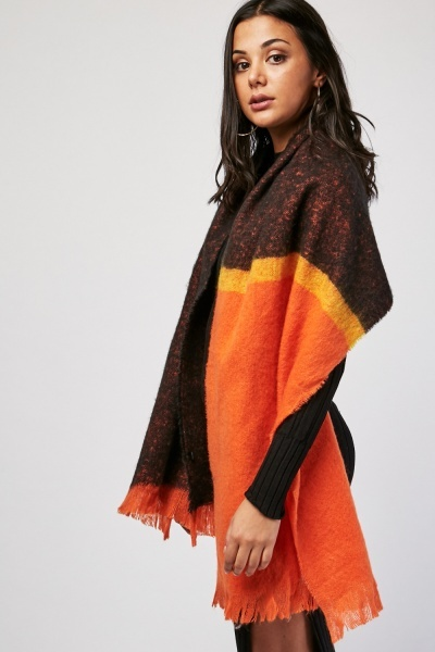 Long Contrasted Woven Scarf