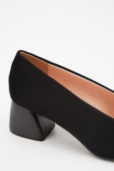 Block Heel Suedette Pumps