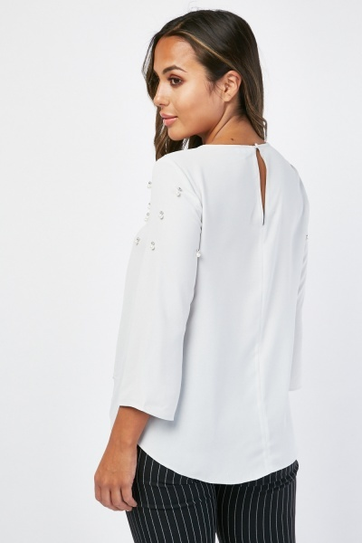 Keyhole Front Faux Pearl Blouse