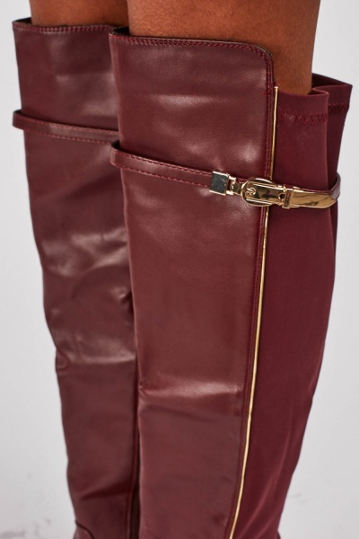 Buckled Detail Knee High Leather Boots