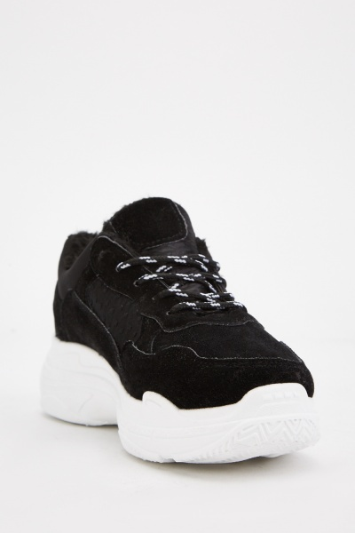 Chunky Black Lace Up Trainers