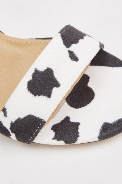 Cow Print Ankle Strap Heels