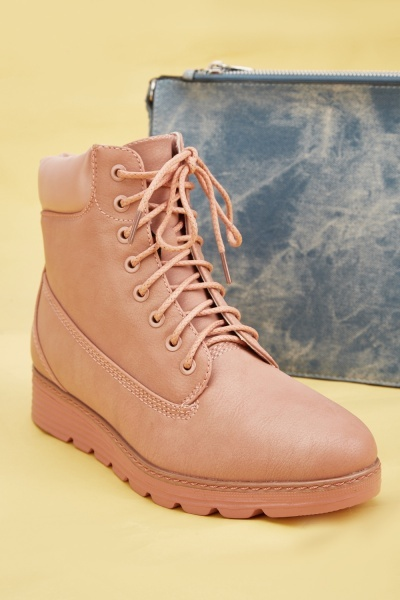 Pink Wedge Lace Up Boots