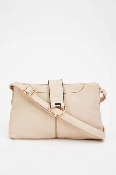 Beige Textured Shoulder Bag