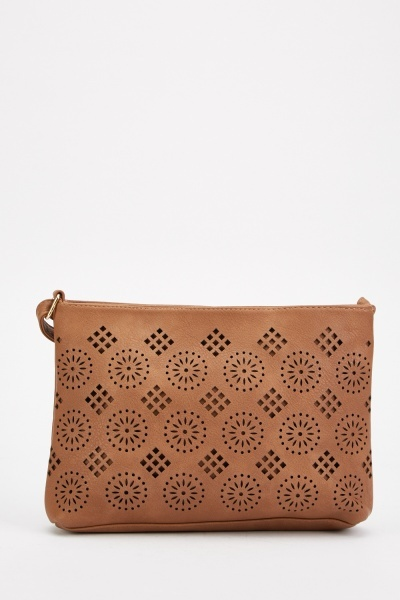 laser cut faux leather cross body bag