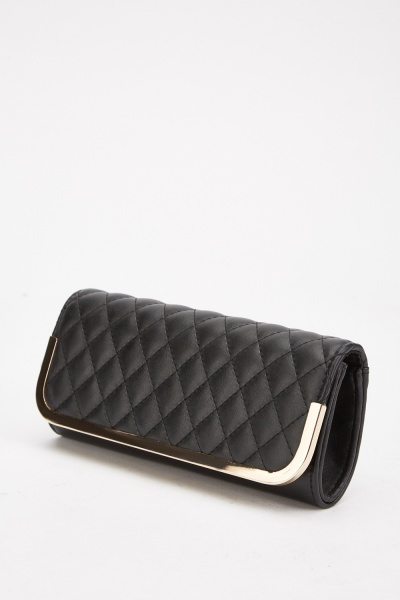 Quilted Faux Leather Clutch Bag