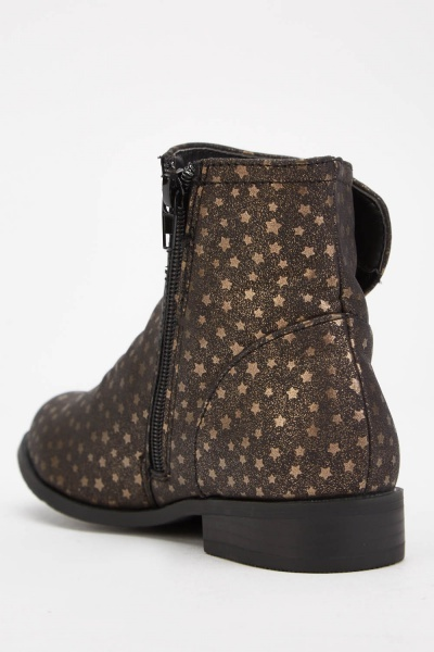 Star Printed Kids Ankle Boots