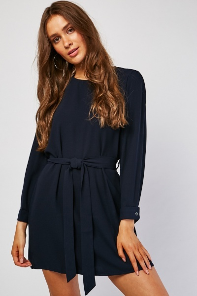 Belted Navy Shift Dress