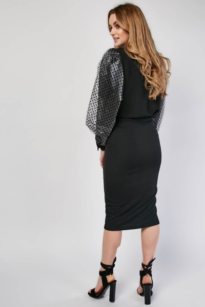 Black Midi Ribbed Skirt