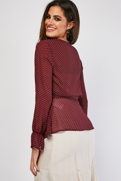 Sheer Chiffon Polka Dot Blouse