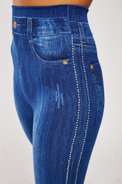 Encrusted Super Stretchy Imitated Denim Leggings
