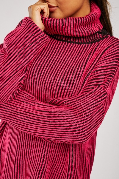 Slouchy Roll Neck Striped Jumper