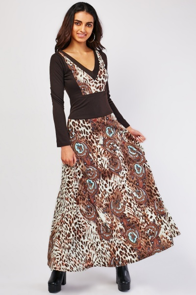 Animal Paisley Print Maxi Dress