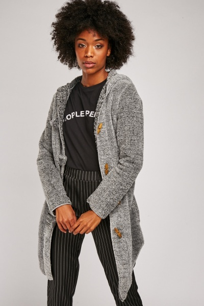 Embroidered Back Fleece Hooded Jacket