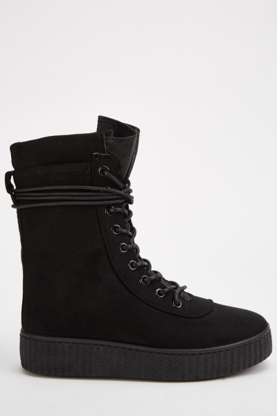 Lace Up Platform Suedette Boots