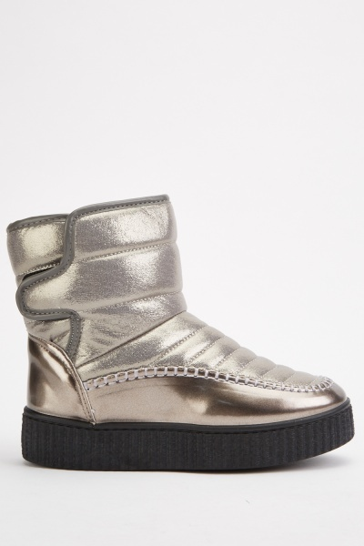 Metallic Top Stitched Winter Boots